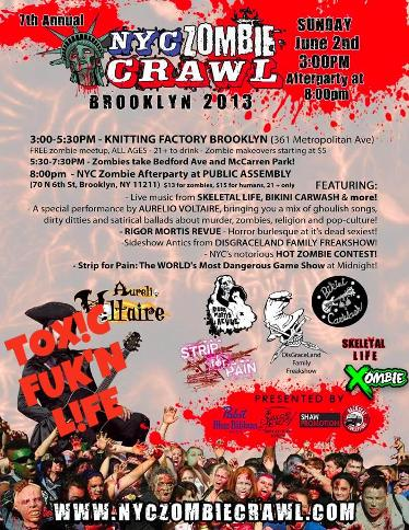TOXICLIFE PERFORMING ACOUSTIC SET @KNITTING FACTORY NYC ZOMBIE CRAWL EVENT JUNE 2ND 3PM ALL AGES!